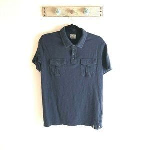 Lucky Brand M Blue Burnout S/S Henley Style Top